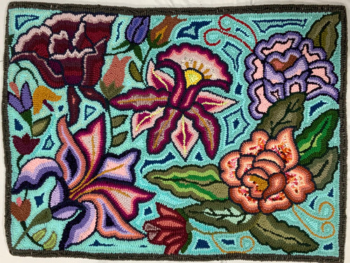 "Handmade Hooked Medium Rug Recycled Clothing by Bartola Guatemala 24"" x 32"" flowers"