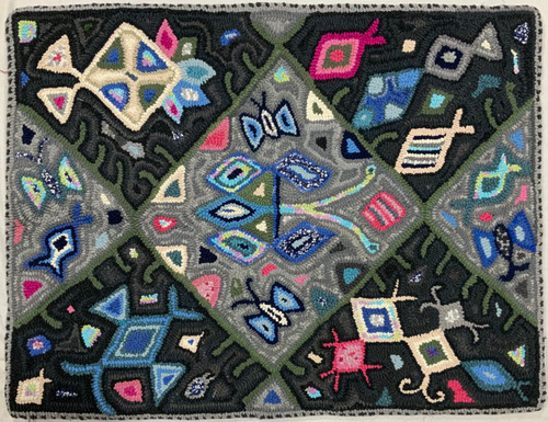 "Handmade Hooked Medium Rug Recycled Clothing by Rosario Guatemala 24"" x 32"""