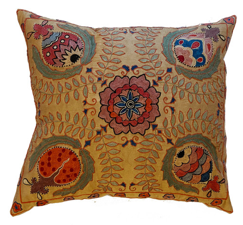 Hand Embroidered Silk Pillow Wheat Uzbekistan muted brick blue cream red blue grey black