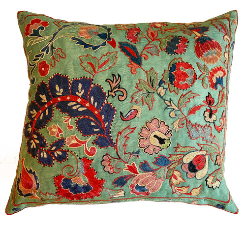 Hand Embroidered Silk Pillow jade green Uzbekistan brick dusty rose, brick red, aqua blue, blue green, Prussian blue, pale pink, cream, pinkish salmon, a little black, and cream
