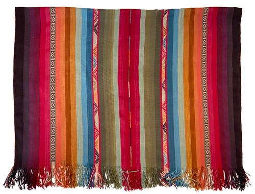 Handwoven Natural Dyed Alpaca Merino Wool Throw Peru Rainbow Colors
