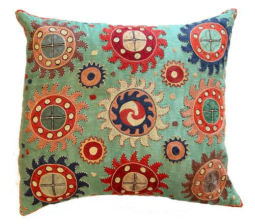 Hand Embroidered Silk Pillow Sea Foam Uzbekistan brick Prussian blue cream