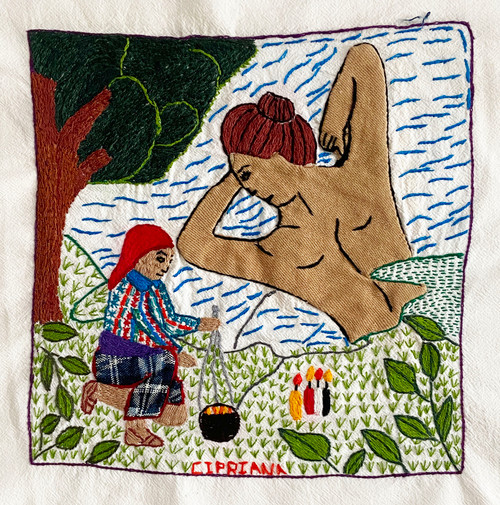 Hand embroidered Story Cloth by Cipriana 4 Guatemala Nawal de Agua