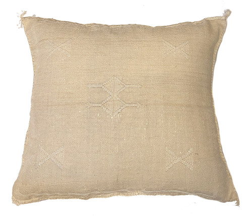 """Handwoven Inlay Design Rayon Pillow Morocco (18"""" x 18"""") Oatmeal colored groundcloth with accents in cream."""