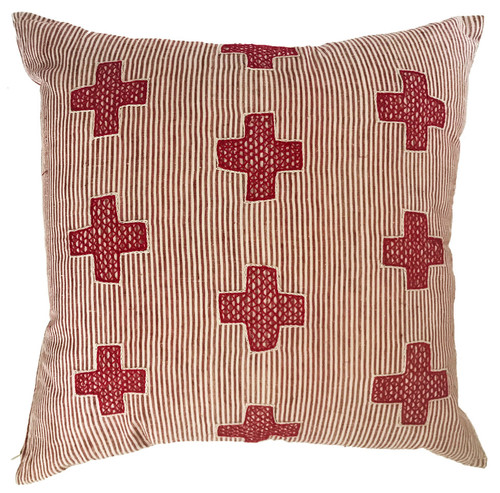 "Hand Embroidered With Stripes Red and White Pillow India (20"" x 20"")"