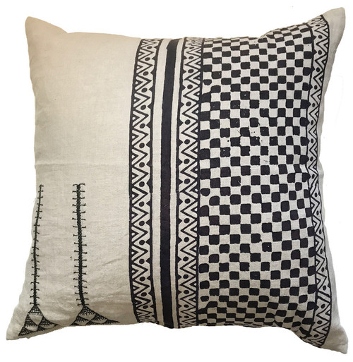 "Hand Embroidered Black and  White Pillow India (20"" x 20"")  natural linen colored linen groundcloth with block printing and embroidered embellishments in black."