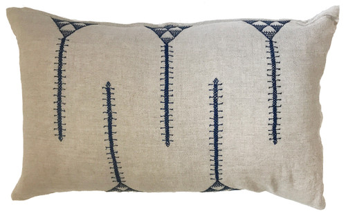 """Hand Embroidered Linen Pillow India (12"""" x 20"""")"""