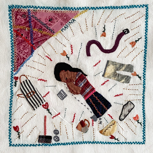 """Hand Embroidered Appliqué Story Cloth by Marina Guatemala (9"""" x 9"""") The Struggle Of Women Not Being Appreciated"""