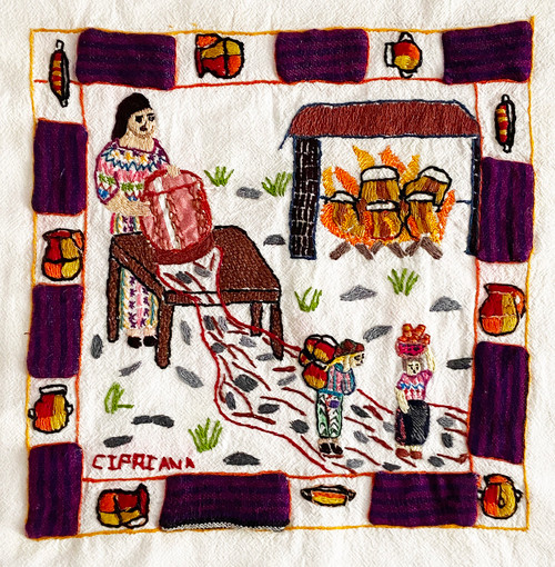 "Hand Embroidered Appliqué Story Cloth by Cipriana Guatemala (9"" x 9"")Making Pots"