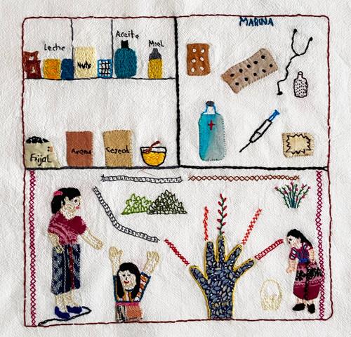 "Hand Embroidered Appliqué Story Cloth by Marina Guatemala (9"" x 9"")  Joy"