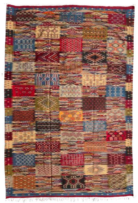 "Handwoven Ahknif Map Tapestry Wool Rug Morocco (82"" x 122"") indigo blue, grey fleece, olive, light blue, terra cotta, burgundy wine, charcoal, bright saffron, red"