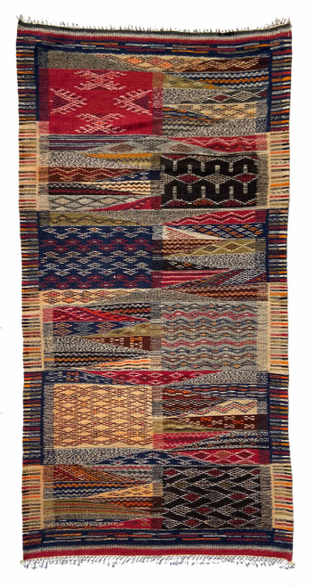 Handwoven Map Tapestry Wool Rug Morocco 32 x 64 A rich and pleasing medley of indigo blue, camel, red, charcoal, bright saffron, oatmeal, bronze green, natural grey fleece, dark chocolate brown, deep rust.