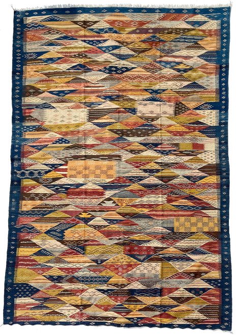 """Handwoven Map Tapestry Wool Rug Morocco (82"""" x 120"""")Colors: A rich and pleasing medley of indigo blue, bronze green, camel, dusty brick, dark chocolate brown, natural grey fleece, tan, cream."""
