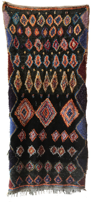 """Handwoven And Hand Knotted Vintage Pile Tribal Boucherouite Rug  Morocco (35""""x 81"""") charcoal, royal blues, orange, gold, bright sky blue, burgundy, wheat, cream, red and periwinkle."""