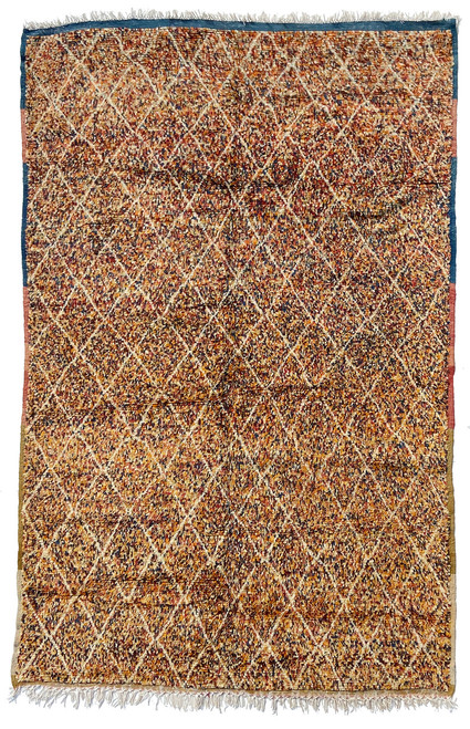 "Handwoven And Hand Knotted Vintage Wool Pile Confetti Rug  Morocco (65""x 100"") Cream, medium indigo, bronze green, saffron, bear brown, gold, pale yellow, chalky red."