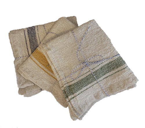 "Woven Linen Napkin Set with 3 Color Choices Lithuania  (16"" x 16"") blue, green, mustard"