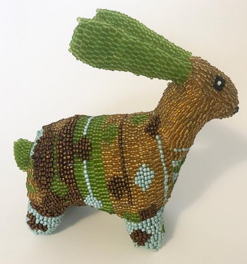 Monkey Biz Beaded Bunny South Africa  lime green, bronze, dark brass, robins egg blue, black, white.