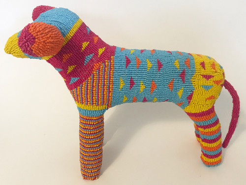 "Handmade Beaded Dog South Africa  (16"" x 11.5"") Magenta, orange, yellow, light blue, orange."