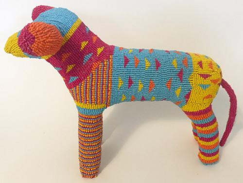 "Handmade Beaded Dog South Africa  (16"" x 11.5"") Magenta, orange, yellow, light blue, orange."