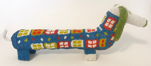 "Handmade Beaded Dachshund South Africa  (7"" x 18"")  lime green, blue, red, white, yellow-green.  orange."