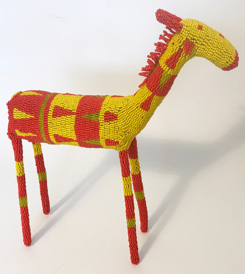 "Handmade Beaded Giraffe South Africa  (12.5"" x 15.5"")  red orange, yellow, yellow-green."
