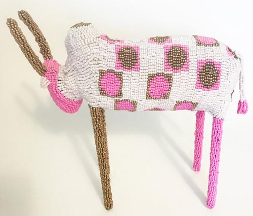 "Handmade Beaded Bull South Africa  (11"" x 11.25"") white, pink, bronze"