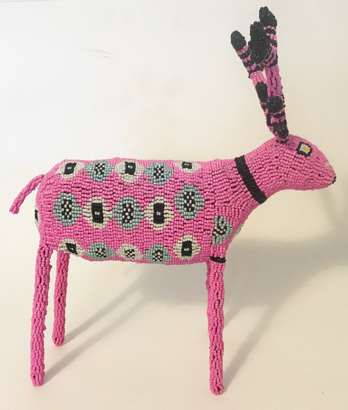 "Handmade Beaded Reindeer South Africa  (12"" x 13.5"") pink, silver gray, white, black and a dot of yellow in the eye."