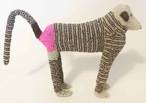 """Handmade Beaded BaboonSouth Africa  (13"""" x 9.5"""") White, bronze brown, pink."""