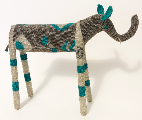 "Handmade Beaded Elephant South Africa  (12"" x 13.5"") dark and medium silver, bright white silver, blue teal."