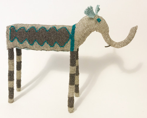 "Handmade Beaded Elephant South Africa  (10.5"" x 13.5"") Bright white silver, dark silver, pearly baby blue."