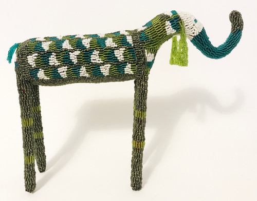 "Handmade Beaded Elephant South Africa  (10"" x 13"") Dark olive, dark glassy teal, lime, pearly white."