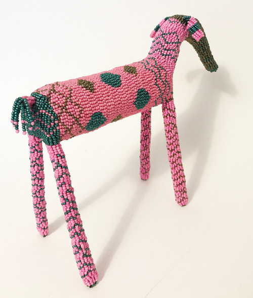 "Handmade Beaded Elephant South Africa  (10"" x 13"") pink, dark pearly teal, dark bronze"