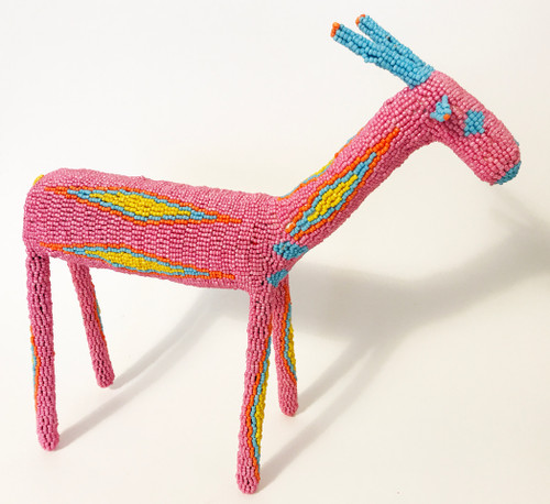 "Handmade Beaded Bokkie South Africa  (13"" x 13.5"") pink, primary yellow, orange, light blue"