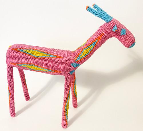 "Handmade Beaded Bokkie South Africa  (13"" x 13.5"") pink, primary yellow, orange, light blue"