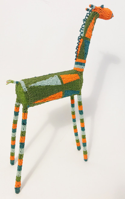 "Handmade Beaded Giraffe South Africa  (15"" x 21"")glassy bright olive, pearly pale blue, orange, pearly dark teal."