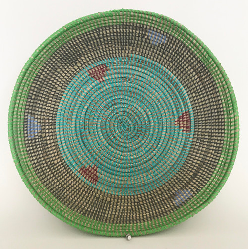 "Handmade Grass and Plastic Basket Senegal  (4.5"" tall x  16""wide) grass, turquoise, dark grey, lime green, periwinkle blue and chalky burgundy"