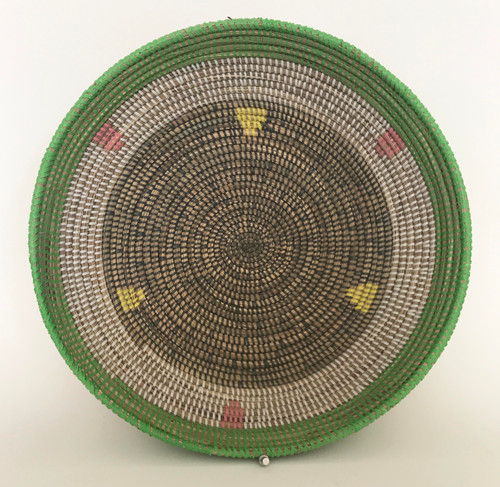 "Handmade Grass and Plastic Basket Senegal  (4.5"" tall x  16""wide) grass, white, dark grey, lime green, yellow  and chalky pink"