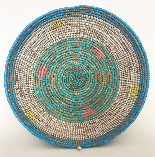 "Handmade Grass and Plastic Basket Senegal  (4.5"" tall x  16""wide) grass, turquoise, bright light blue, white, yellow and chalky pink"