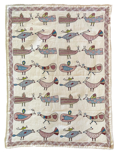 "Hand Stitched Kantha Birds Wall Hanging India (24"" x 64"") white silver tan, bright blue, lime green, burgundy, dusty rose and black"