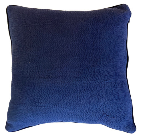 "Hand Stitched Kantha Cotton Pillow India (18"" x 18"") indigo"