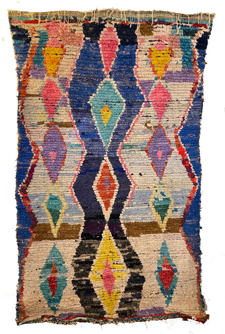 "Handwoven And Hand Knotted Vintage Pile Tribal Boucherouite Rug  Morocco (54""x 93"")  royal blues, orange, gold, bright sky blue, burgundy, wheat, cream, red and periwinkle."