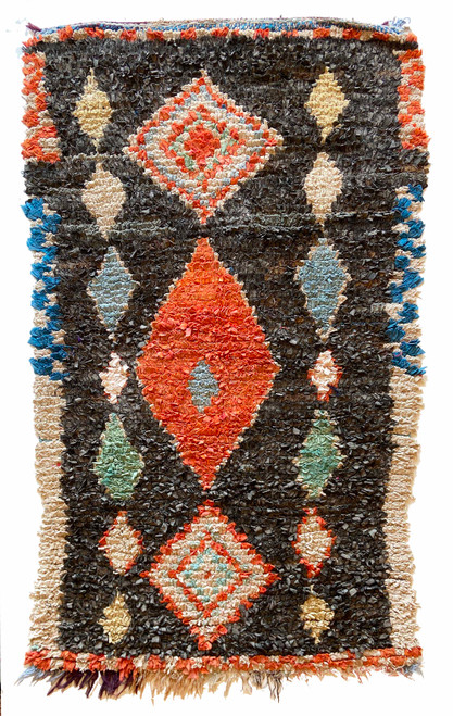 "Handwoven And Hand Knotted Vintage Pile Tribal Boucherouite Rug  Morocco (40""x 65"") muted charcoal, papaya, robins egg blue, faded teal blue, light pink, marine blue, pinky pale grey"