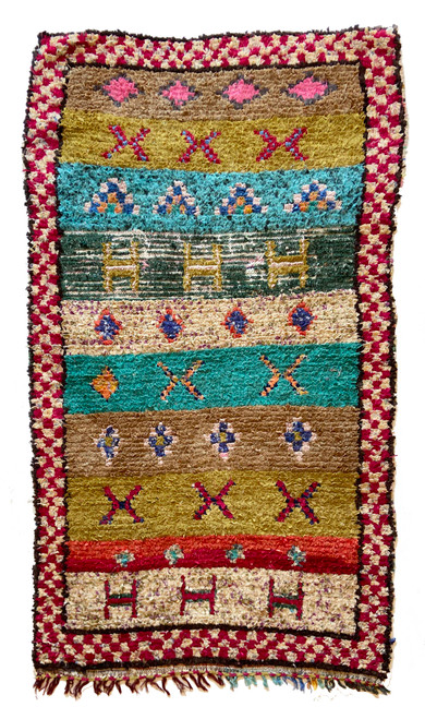 "Handwoven And Hand Knotted Vintage Pile Tribal Boucherouite Rug  Morocco (36""x 67"") olive, cocoa, turquoise, pine, red, papaya, hot pink, flecked tan"