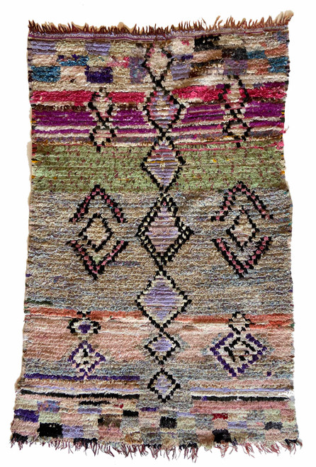 """Handwoven And Hand Knotted Vintage Pile Tribal Boucherouite Rug  18 Morocco (42""""x 64"""") grey-blue, mint green, pink, bright magenta, lavender, off-white, black"""