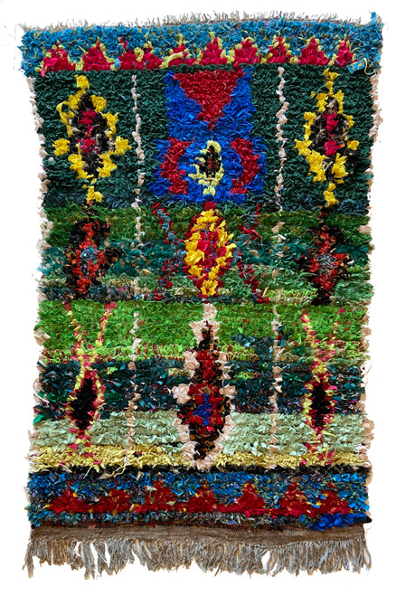 "Handwoven And Hand Knotted Vintage Pile Tribal Boucherouite Rug  18 Morocco (40""x 68"") bright green, grass green, dark teal green, bright yellow, bright marine blue, mint, citron, sky blue, pale pink"