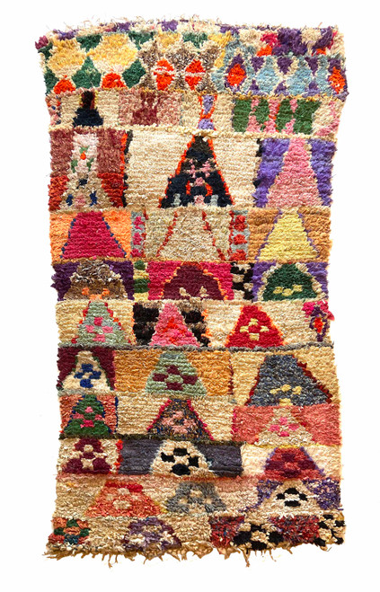 "Handwoven And Hand Knotted Vintage Pile Tribal Boucherouite Rug  16 Morocco (50""x 98"") off-white, bright lavender, red, bright white, pale yellow, red, orange, pine green, burgundy, pale copper, navy, pale blue, dark periwinkle"
