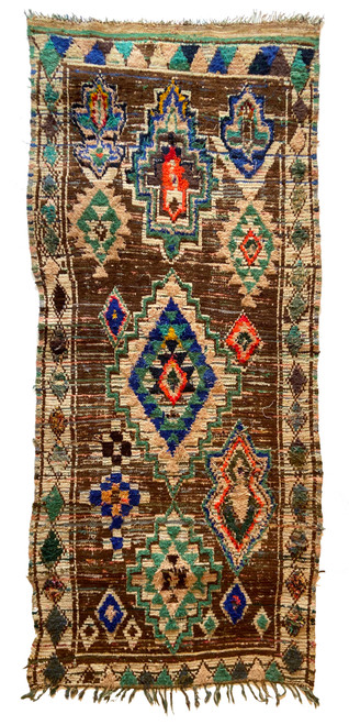 """Handwoven And Hand Knotted Vintage Pile Tribal Boucherouite Rug  15 Morocco (45""""x 98"""") colors bear brown, teal green, bright marine blue, bright papaya, off-shite, navy"""