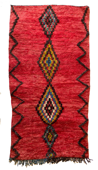 "Handwoven And Hand Knotted Vintage Pile Tribal Boujaad Wool Rug 17 Morocco (45""x 86"") rich red, black, golden olive, marine blue, cream, teal green"