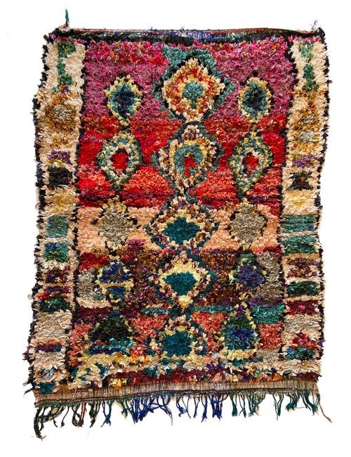 "Handwoven And Hand Knotted Vintage Pile Tribal Boucherouite Rug  15 Morocco (54""x 69"") colors red, dark charcoal, mixed fire- orange, teal blue, off-whites, mixed magentas, pale citron, pine"