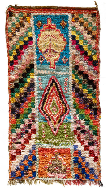 "Handwoven And Hand Knotted Vintage Pile Tribal Boucherouite Rug  25 Morocco (54""x 69"") colors pale gold yellow, bright blue, pale turquoise, red, magenta, papaya, marine blue, dusty rose, pine, bright olive, black, teal green, pink."